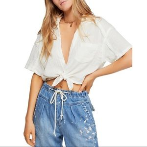 We the Free Full of Light Ivory Button-Down Crop